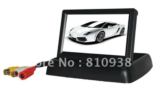 "Foldaway 4.3"" 2CH inch monitor foldable LCD for Car rear view / rearview carmera Monitor Color camera DVD VCR CCTV"