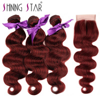 Buy 3 Bundles Bold Red 99J Burgundy Brazilian Body Wave Get Free Closure 100 Human Hair