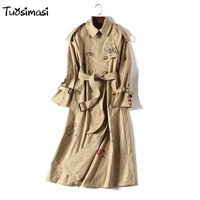 2018 wind coat new graffiti printing coat brand coat Long Khaki color adjust belt double breasted Trench overcoat (B022)