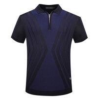 BILLIONAIRE TACE SHARK T Shirt Men 2018 Summer New Style Zipper Collar Comfort Elegant Goemetry Solid
