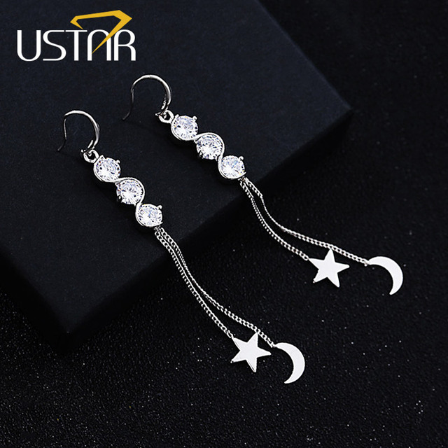 USTAR Long Tassel Drop Earrings for Women Silver Color Chain Moon Star Crystals  Earrings female brincos Accessories 02904c26626c