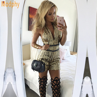2017 Women Sexy Deep V Halter Backless Open Back All Sequined Luxury Celebrity Party Bandage Playsuits