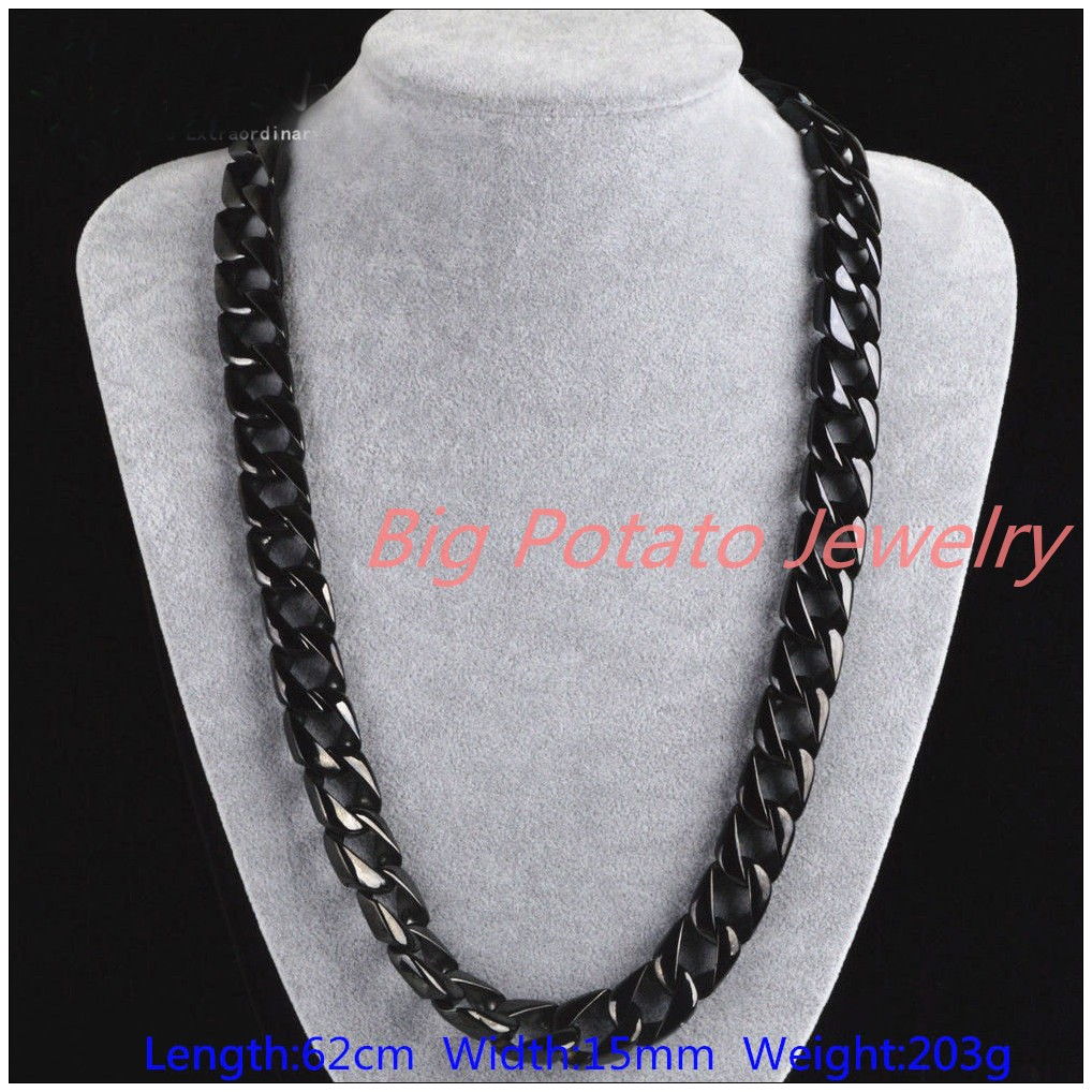 Huge Heavy 203g Black Jewelry Fashion 316L Stainless Steel Curb Cuban Chain Men's Necklace 24*15mm High Quality sabava 203g 3