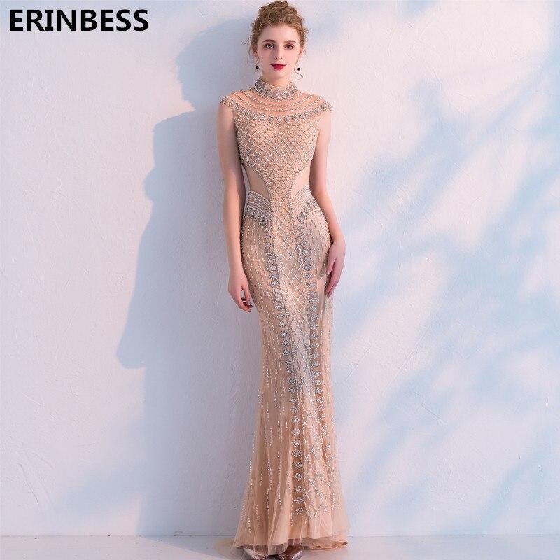 dddb889da39 Русалка Вечерние платья длинное платье 2019 халат De Soiree Высокий  воротник тюль с бисер элегантное вечернее платье вечерние