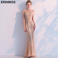 Mermaid Evening Dresses Long Dress 2019 Robe De Soiree High Neck Tulle With Beading Evening Dress Elegant Formal Evening Gowns