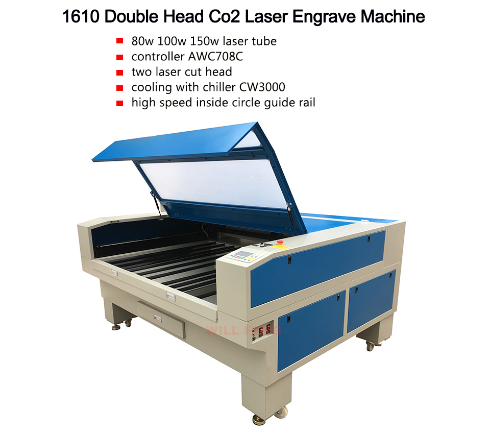 HTB12ghfXyzxK1Rjy1zkq6yHrVXaN - 1610 Double head Co2 Laser Engraving And Cut Machine with AWC708C Controller , 100w 130w EFR  Laser Tube Cut Colth Textile