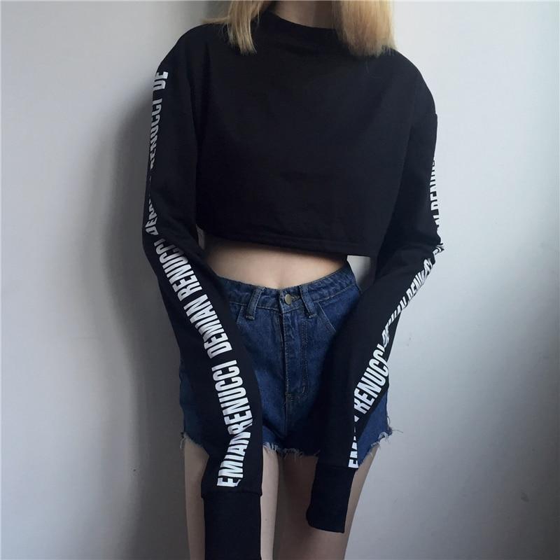 Fashion Japanese Harajuku Words Printed Women T-shirt Korean Ulzzang Punk Vintage Female Long Sleeve T Shirt Casual Crop Tops