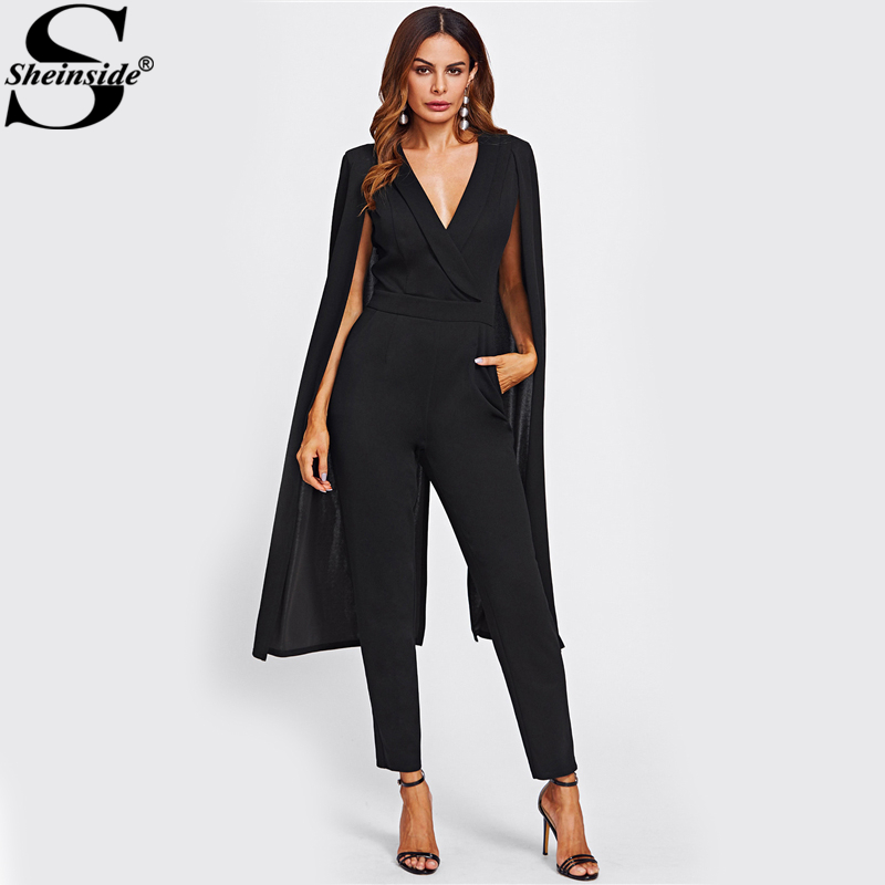 55a4e2d0ea7 Aliexpress.com   Buy Sheinside Cape Sleeve Surplice Wrap Tailored Jumpsuit  Black V neck Split Sleeve Casual Jumpsuit Women Elegant Jumpsuit from  Reliable ...