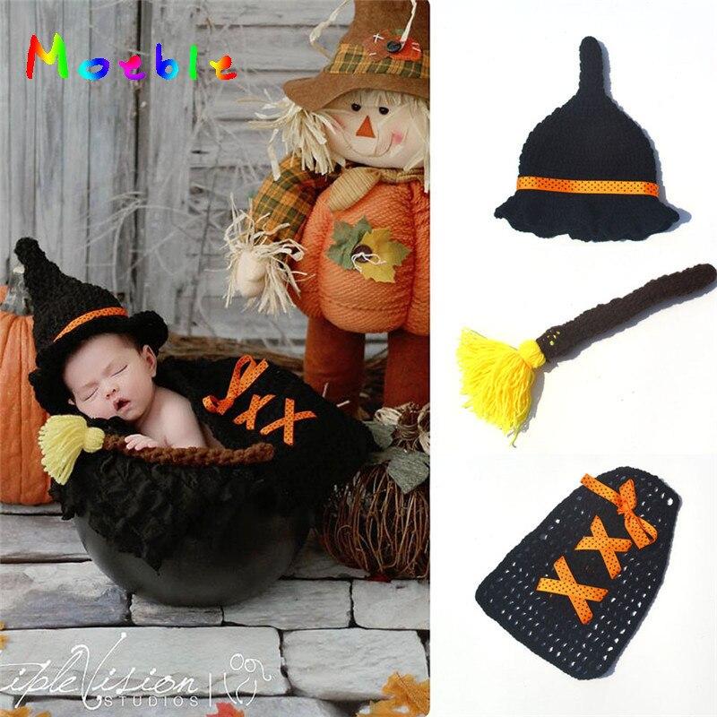 Detalle Comentarios Preguntas sobre Novedad Crochet recién nacido  fotografía Prop niño niña bruja mago sombrero y cubierta ganchillo tejido  traje Halloween ... f536c8c08a1e
