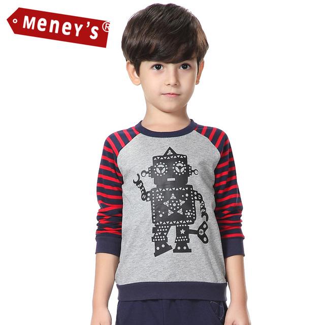 Camisetas Niños Del Resorte del muchacho Fuera suéter de Dibujos Animados de Robots Completo Mangas Raglan Tops Camisetas Sudaderas para Niños