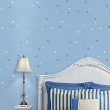 Cartoon blue stars children room wallpaper environmentally friendly non-woven bedroom wallpaper background wall paper цена 2017