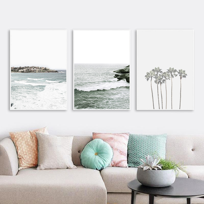 Motivational Quote Palm Tree Leaf Picture Scandinavian Poster Nordic Decoration Ocean Sea Print Scenery Wall Art Canvas Painting