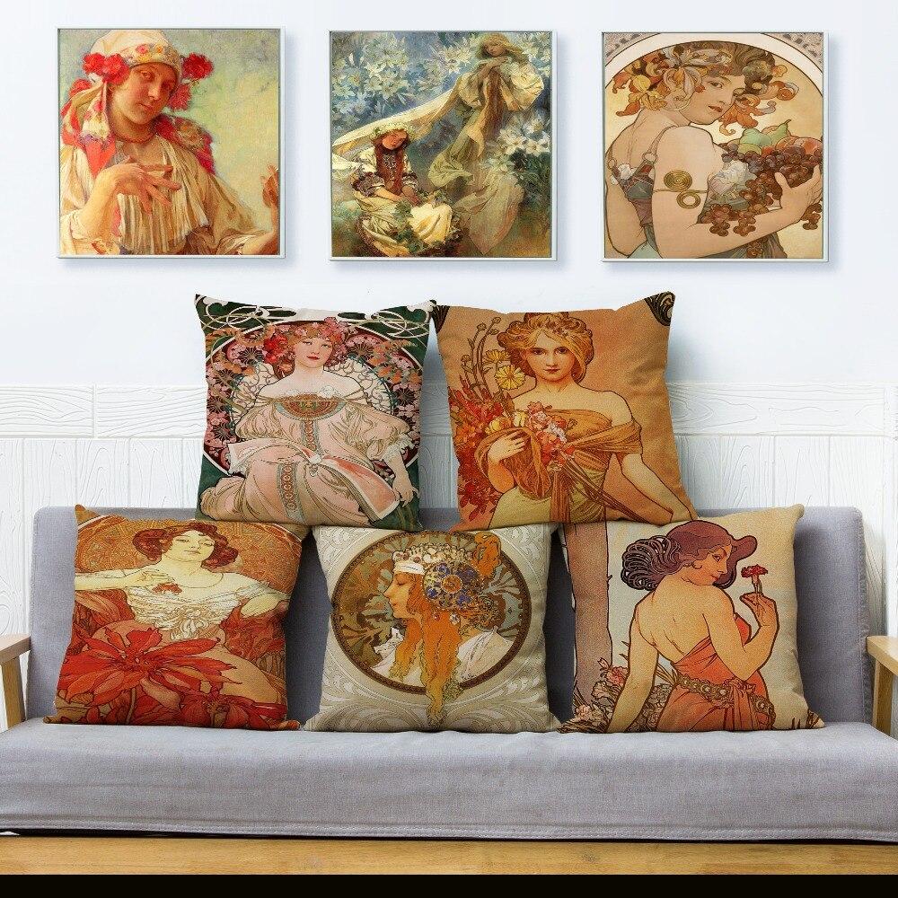 Art Nouveau européen Mucha galerie housse de coussin Beige lin jet taie d'oreiller voiture canapé décor à la maison 45*45 cm carrés oreillers couvre