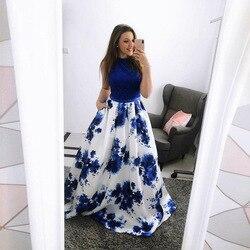 Szata ceremonie femme sukienka kobiet patchwork bez rękawów drukowane party night długość podłogi sukienka sukienki kolacja sukienki dla kobiet 2