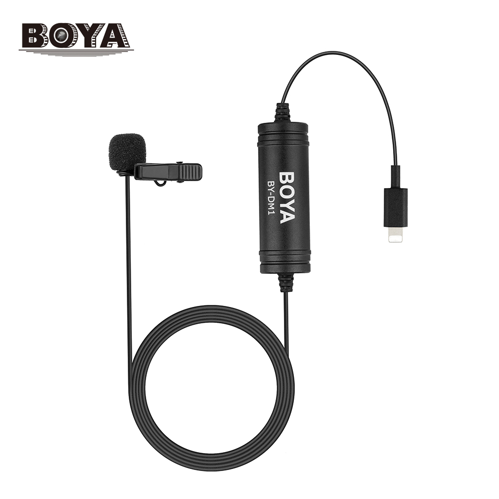 BOYA Lapel Lavalier Microphone Omnidirectional Condenser Clip-on Mic For iphone X 8 7 6 5 Connecter 6m 20ft Mic Extension Cables boya by dm1 by dm2 digital lavalier lapel microphone clip on video recording mic with lighting port type c for iphone x 8 7
