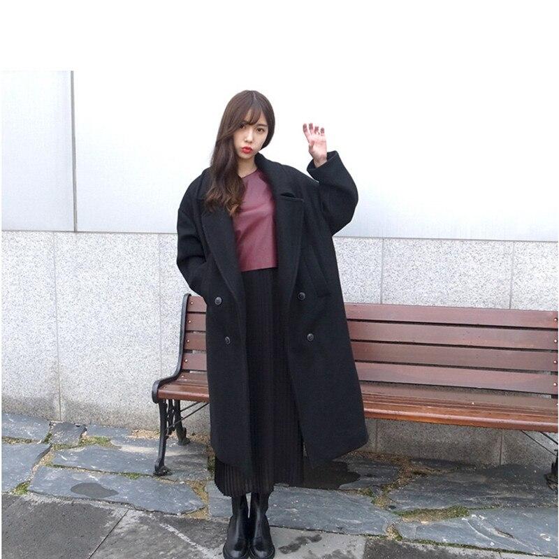 Longue Filles Laine Lâche Version Hiver Manteau De Nouvelle Simple Épais Noir Coréenne Marée kaki Section Moutons La kiZuPX