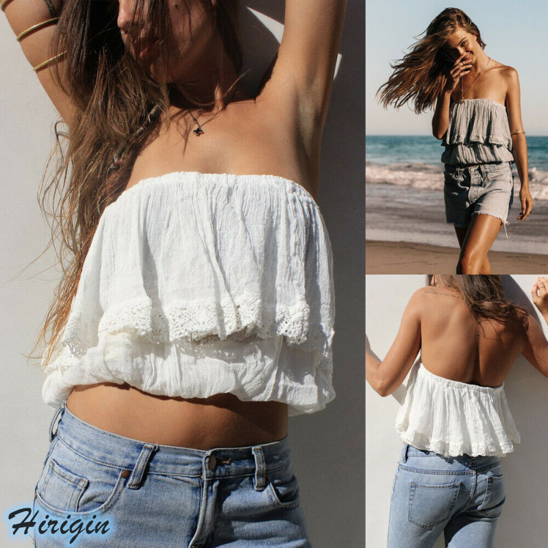 Summer Women Tops 2019 New Women Summer Sexy Sleeveless Off Shoulder Solid Loose Strapless Short Tops in Tank Tops from Women 39 s Clothing
