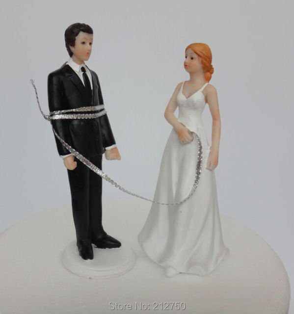 New Arrival Free Shipping Bride Rope Tie Groom Funny Wedding Cake Toppers