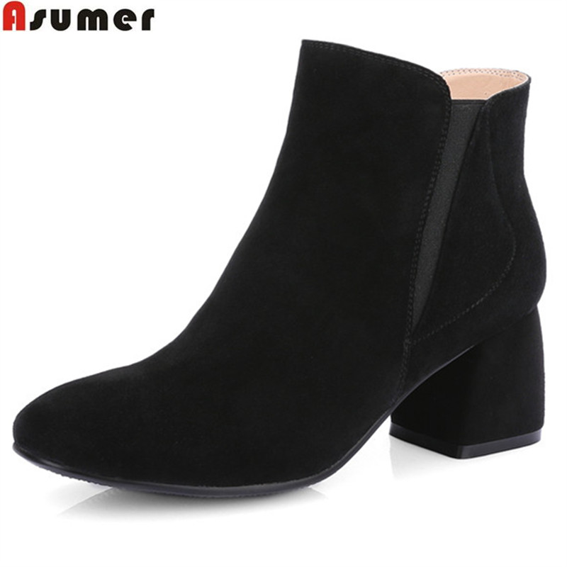Asumer fashion autumn winter new arrive women boots zipper cow suede ankle boots square heel black brown genuine leather boots asumer black brown fashion women boots round toe genuine leather boots square heel cow leather ankle boots med heel shoes