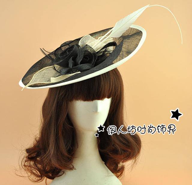 Bege Véu Chapéu Fascinator Nupcial Preto Do Vintage HatsLadies Chapéus Do Partido Sexy Chegam Novas Venda Quente Beading Feitas À Mão Festa Cabelo desgaste