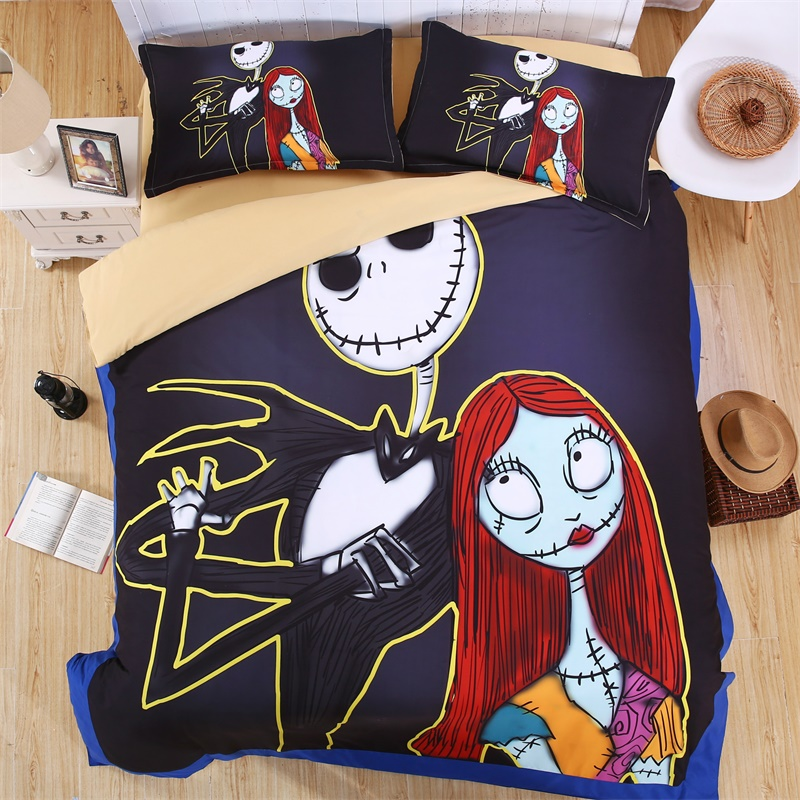 cartoon print nightmare before christmas bedding set quilt cover pillowcase bed sheets twin full queen king size in bedding sets from home garden on - The Nightmare Before Christmas Bedding