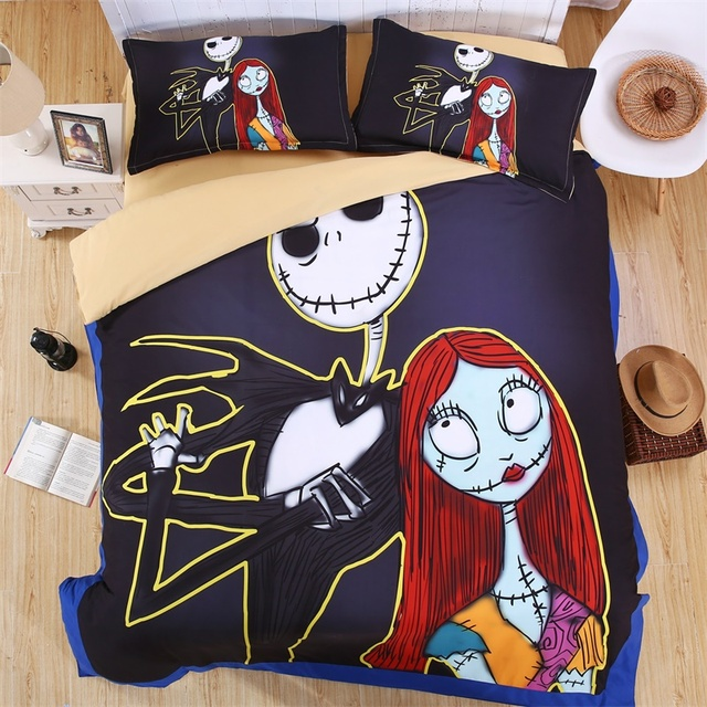 cartoon print nightmare before christmas bedding set quilt cover pillowcase bed sheets twin full queen king - Nightmare Before Christmas Bedding Queen