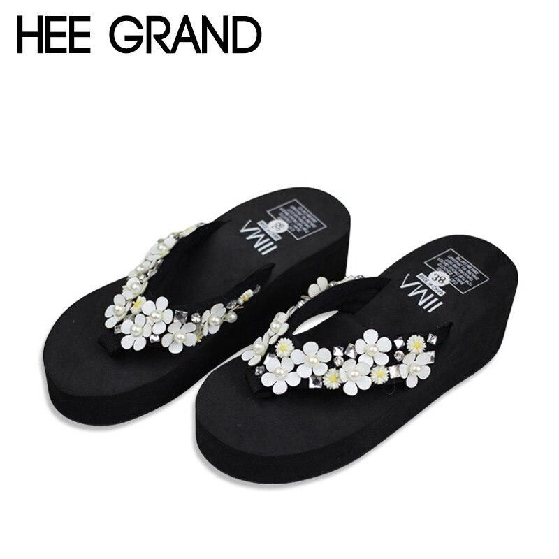 Hee Grand/Летние Тапочки Цветы украшение женские туфли без задника Сланцы пляжная повседневная женская обувь для отдыха и beachxwt1105
