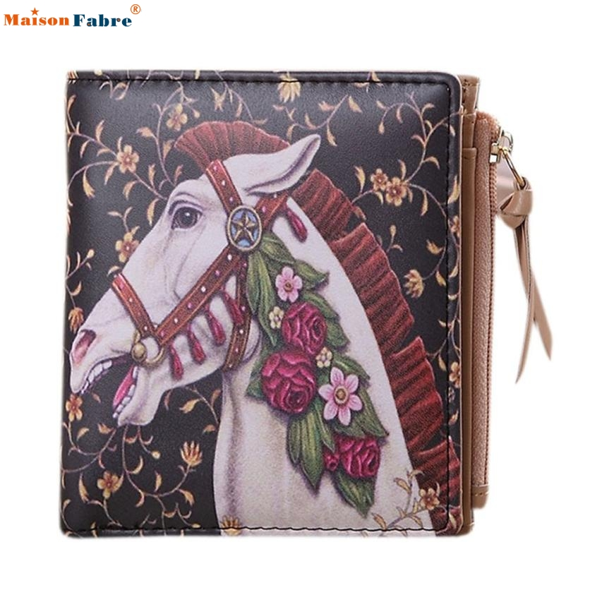 Naivety 2016 New Women Vintage PU Leather Floral Horse Printing Short Wallet Clutch Purse Bag Monedero 11S60927 drop shipping naivety new fashion women tassel clutch purse bag pu leather handbag evening party satchel s61222 drop shipping