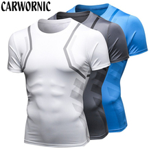 CARWORNIC Summer Quick Dry Shirt Men Fitness Bodybuilding Workout T Tight Gyms Compression Breathable Shirts Male