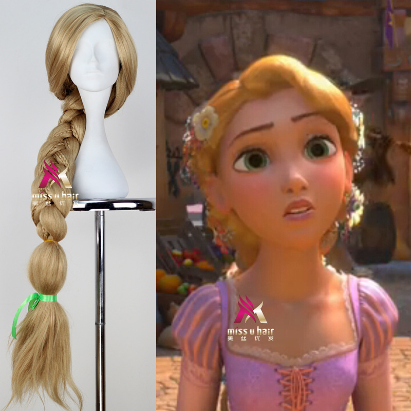 New Tangled Rapunzel Cosplay Wig Halloween Role Play Long Ponytail Cos Hair Adult Golden Wig free ship gou matsuoka long wine red women style anime cosplay wig one ponytail 370f
