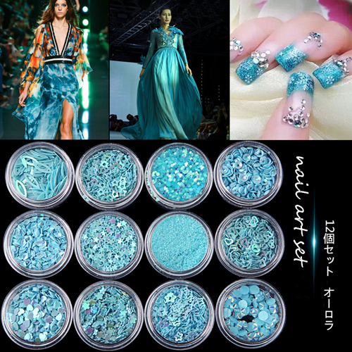 Aquamarine Series 12 Pcs Mix Snowflake Heart Star Nail Sequins Shining Glitter Powder Rhinestone Tips Nail Wedding Decoration