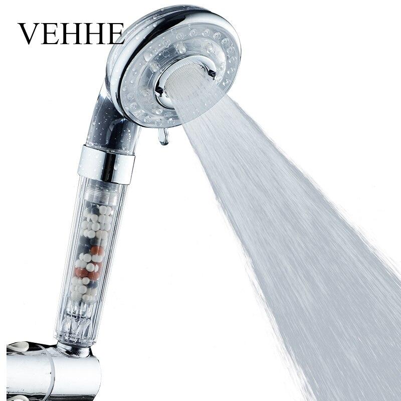 VEHHE calidad 2 colores SPA Watersaving ducha 4 Gear ABS ducha de alta presión filtro nuevo diseño baño ducha cabeza VE200