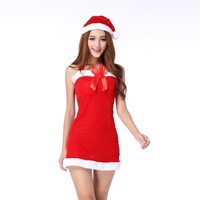 Women Sexy Christmas Festival Costumes Cosplay Dress Halloween Role Playing Uniform Female Pure Red Velvet Adult