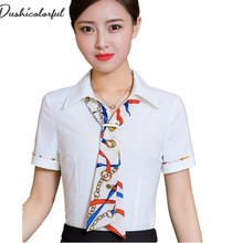 Dushicolorful new 2019 summer short sleeve womens tops fashion office lady shirt women turn-down collar clothing blusas