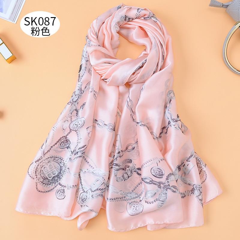 90*180cm Summer Chain Printed Silk Satin Long Scarf Dual-use Large Shawl