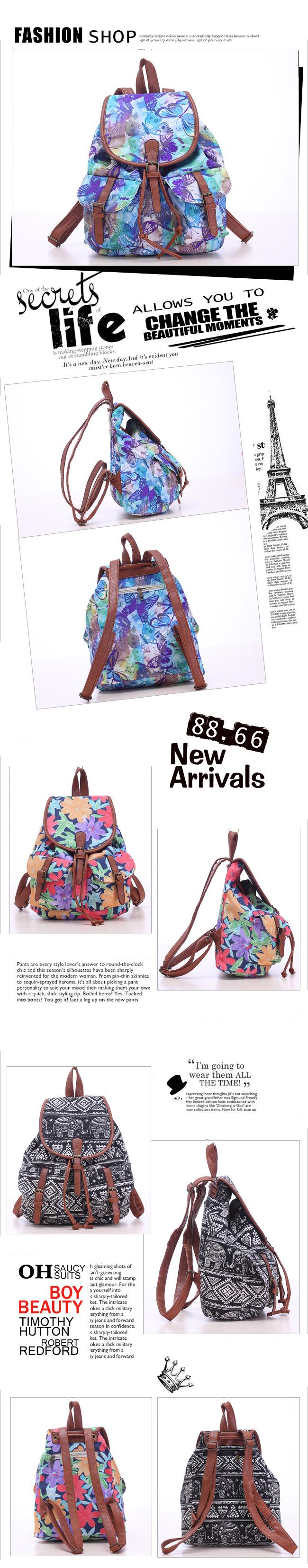 5aa1a74c8fd Vintage Women s Canvas Travel Rucksack Hobo printing School Bag ...