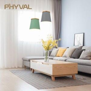 Image 2 - Lampe suspendue en bois et en fer au design nordique moderne, luminaire dintérieur en aluminium, LED ampoules, idéal pour une chambre à coucher ou une cuisine, E27