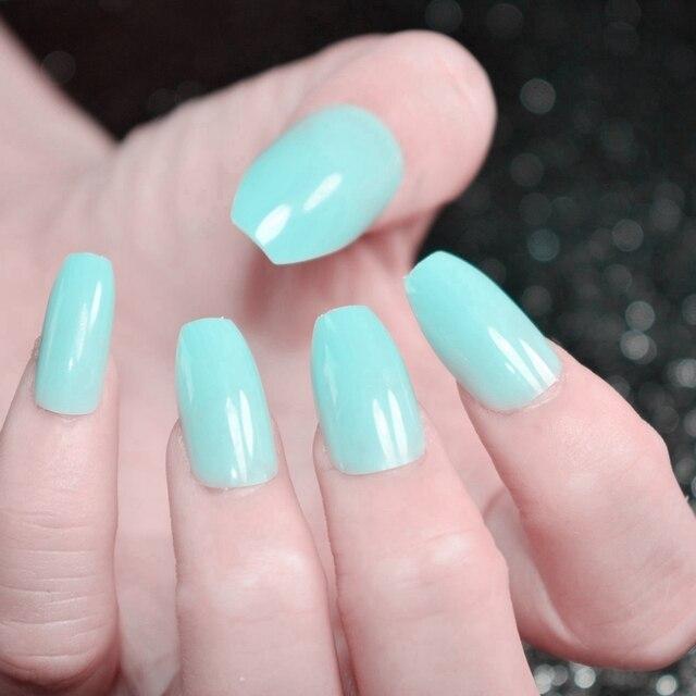 24pcs shiny candy fake nail mint