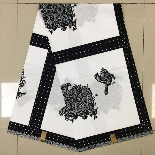 Trắng đen Châu Phi sáp in hình vải đại sáp ở hà Lan 6 thước ankara Châu Phi sáp in guinea vải thổ cẩm tiệc cưới