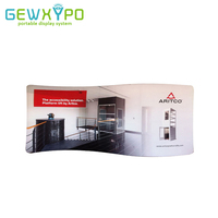 5m S Shape Exhibition Pop Up Booth Advertising Tension Fabric Back Wall Aluminum Display Stand With Full Color Printed Banner