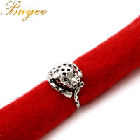 BUYEE Fashion Men Boy Simple Thai Silver Cute Leopard Design Rings Retro Silver Ring Punk Fashion