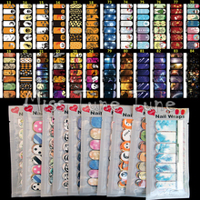 14 Tips NAIL Art Full Cover Adhesive Stickers Polish Foils Transfer Tips Wrap Flower Xmas Cartoon Decal Manicure 6 Styles/Set