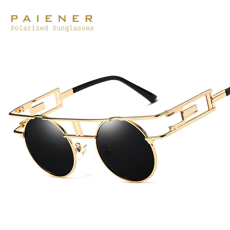 Brand Designer Women Men Steampunk Polarized Sunglasses with Accessories Luxury Round Punk Glasses Retro Goggles UV400 Eyewear
