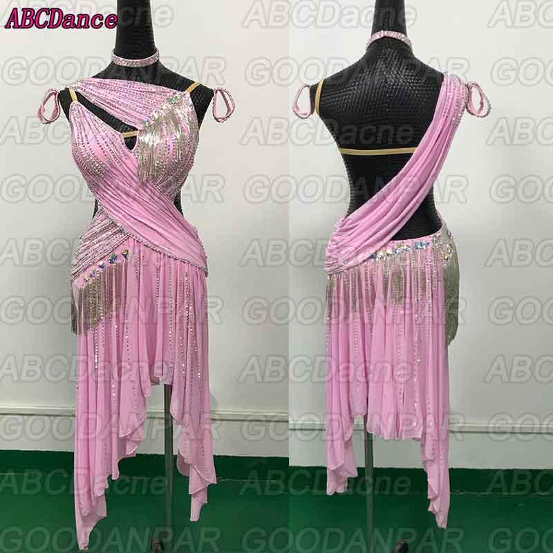 New Latin Dance Dress Women  Backless Pink Bead Dress For Ballroom Dancing Custom-made Handmade Latin Dance Dress