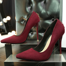 Ou Mo brand European and American fashion 11cm High heels women's sandals Suede Solid color pointed toe strap female Single shoe