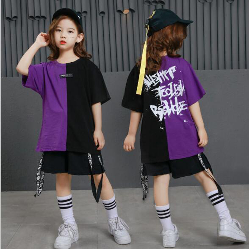 New Design Kids Streetwear hip hop dance costumes for girls boys competition Hip-hop clothing Hiphop dance wears 110-180cm