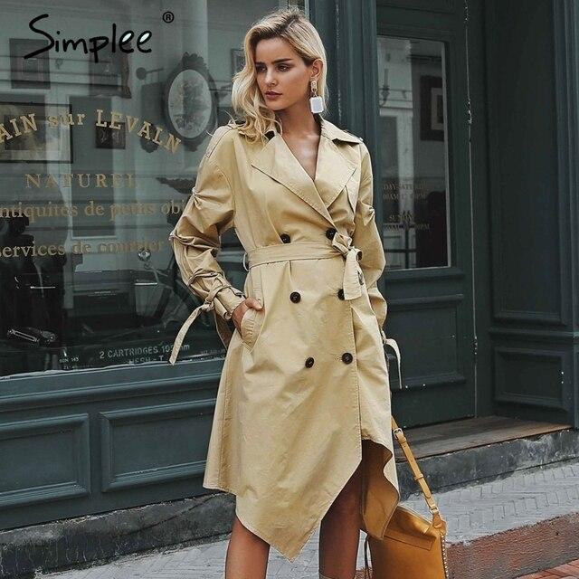 Simplee двубортный хаки Куртки Нерегулярные Длинный плащ womenSash ruched Повседневная Верхняя одежда на осень-зиму 2018