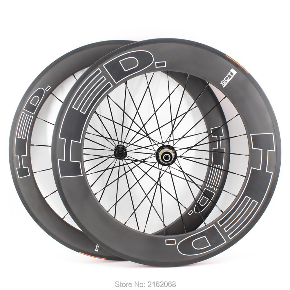 New 700C front 60mm+rear 88mm Road bike matte UD full carbon fibre bicycle wheelset carbon clincher <font><b>rims</b></font> 23 25mm width Free ship image
