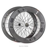 New 700C front 60mm+rear 88mm Road bike matte UD full carbon fibre bicycle wheelset carbon clincher rims 23 25mm width Free ship
