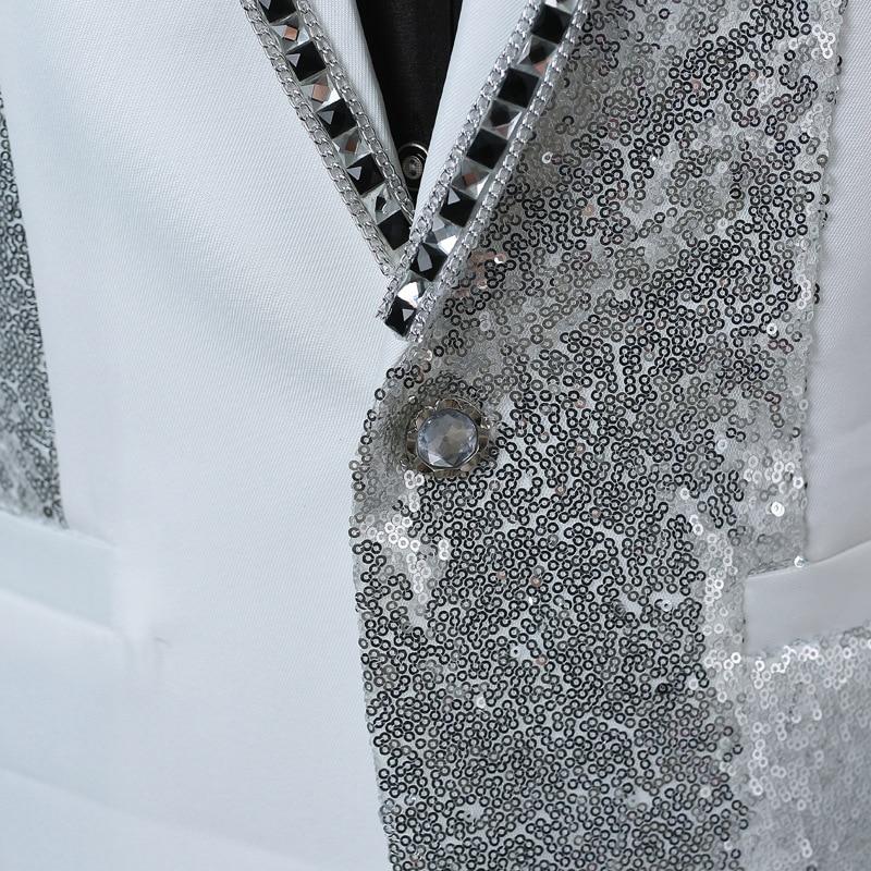Mâle Costumes Partie black Bow Ensemble Blanc Pantalon Broderie D'étape Diamant White De Sequin veste Tie Chanteur 3 Luxe Costume Hommes Pièce Argent C6w1aqT